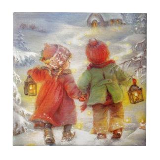 Vintage Christmas children Walking In The Snow Tile