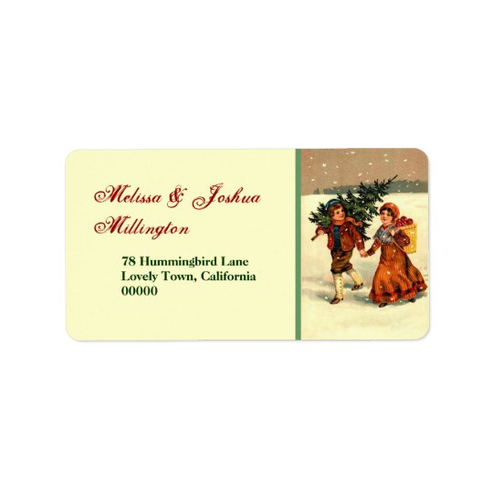 Vintage Christmas Children with Tree Address Label