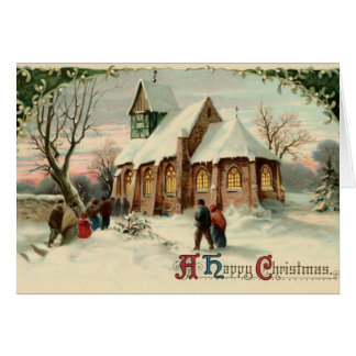 Vintage Christmas Church Parishioners at Dawn Mass Card