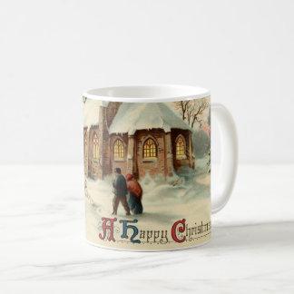 Vintage Christmas Church Parishioners at Dawn Mass Coffee Mug
