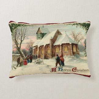Vintage Christmas Church Parishioners at Dawn Mass Decorative Cushion