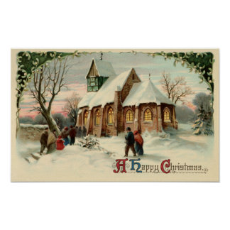 Vintage Christmas Church Parishioners at Dawn Mass Poster
