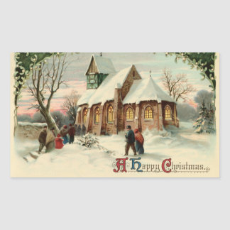 Vintage Christmas Church Parishioners at Dawn Mass Rectangular Sticker