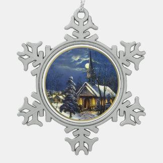 Vintage Christmas Church Snowflake Ornaments