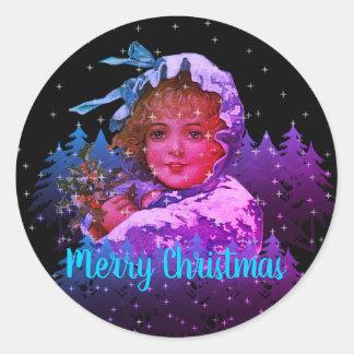 Vintage Christmas Cloaked Girl Night Stars Purple Classic Round Sticker