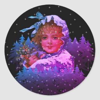 Vintage Christmas Cloaked Girl Night Stars Trees Classic Round Sticker