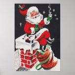 Vintage Christmas cocoa Santa poster