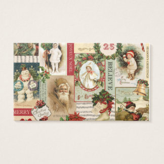 VINTAGE CHRISTMAS COLLAGE BUSINESS CARD