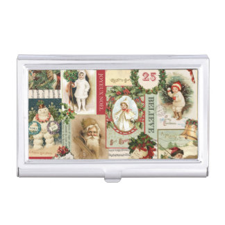 VINTAGE CHRISTMAS COLLAGE BUSINESS CARD HOLDERS