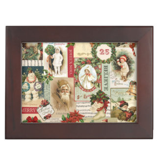 VINTAGE CHRISTMAS COLLAGE KEEPSAKE BOX