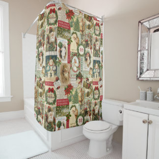 VINTAGE CHRISTMAS COLLAGE SHOWER CURTAIN