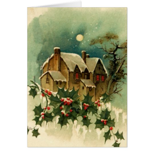Vintage Christmas Cottage Card