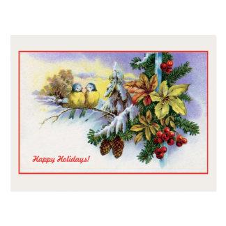 Vintage Christmas cute birds decoration Postcard