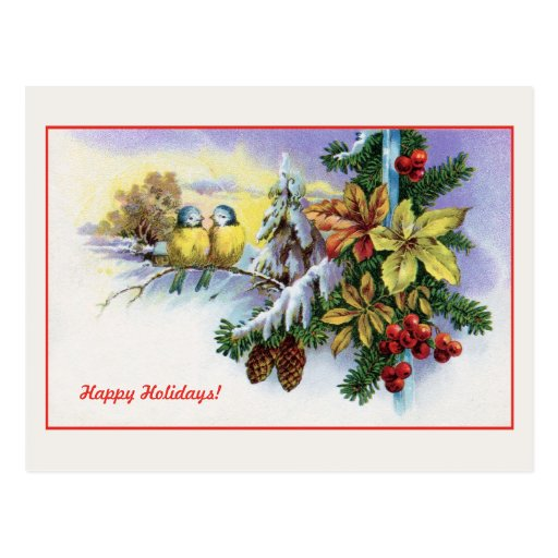 Vintage Christmas cute birds decoration Postcard