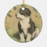 Vintage Christmas, Cute Puppy Dog Christmas Tree Ornaments