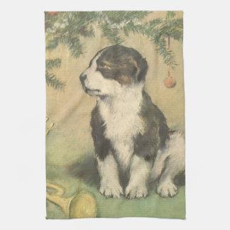 Vintage Christmas, Cute Puppy Under Christmas Tree Tea Towel