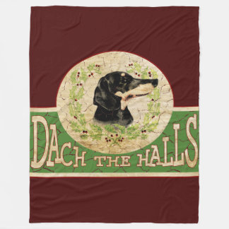 Vintage Christmas Dachshund Dach (Deck) the Halls Fleece Blanket