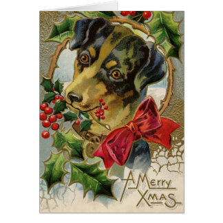 Vintage Christmas, Dachshund Puppy Dog with Holly Card