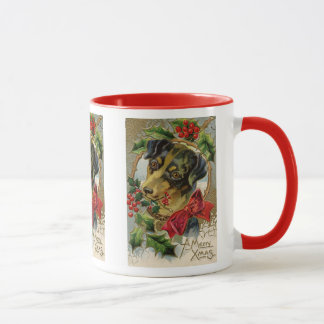 Vintage Christmas, Dachshund Puppy Dog with Holly Mug