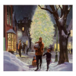 Vintage Christmas, Dad Shopping with Kids Poster