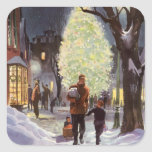 Vintage Christmas, Dad Shopping with Kids Square Stickers