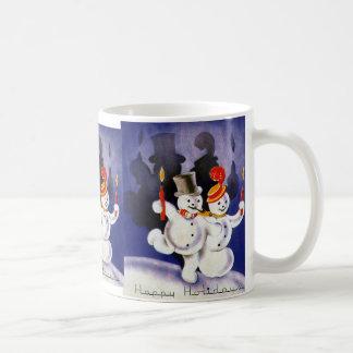 Vintage Christmas Dancing Snowmen Candles Basic White Mug