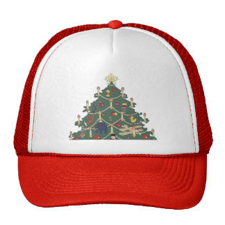 Vintage Christmas, Decorated Tree and Children Trucker Hat