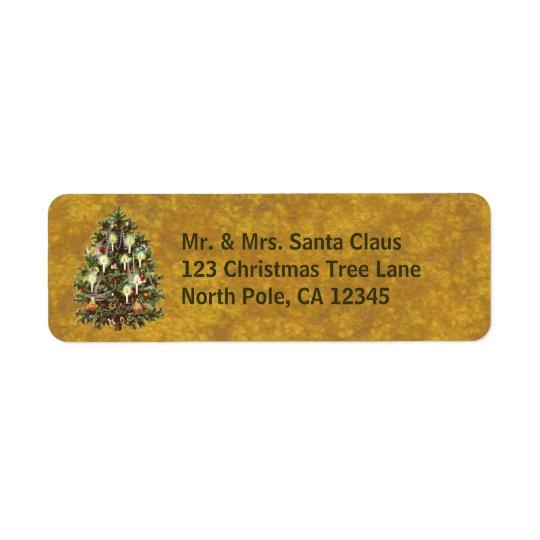 Vintage Christmas, Decorated Victorian Tree Return Address Label