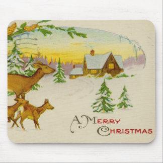 Vintage Christmas Deer Mouse Pad