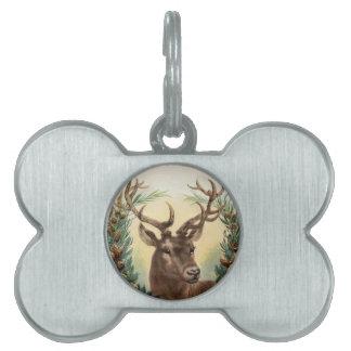 Vintage Christmas Deer Pet Name Tag