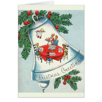 Vintage Christmas Dinner Bell Greeting Card
