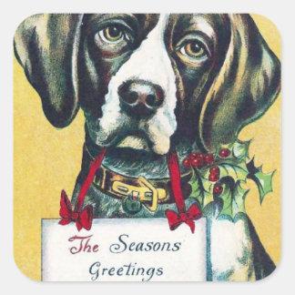 Vintage Christmas Dog Season's Greetings Holiday Square Sticker