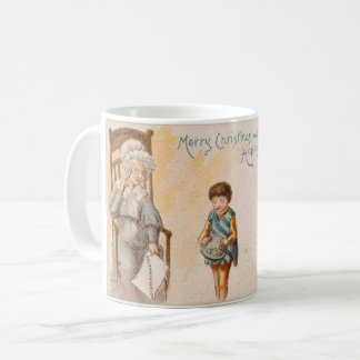 Vintage Christmas Drawing Grandma Grandchild Coffee Mug