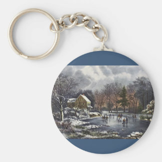 Vintage Christmas, Early Winter Skaters on Pond Basic Round Button Key Ring