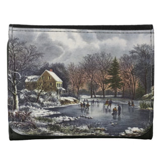 Vintage Christmas, Early Winter Skaters on Pond Leather Wallets