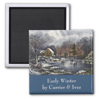 Vintage Christmas, Early Winter, Skaters on Pond Square Magnet