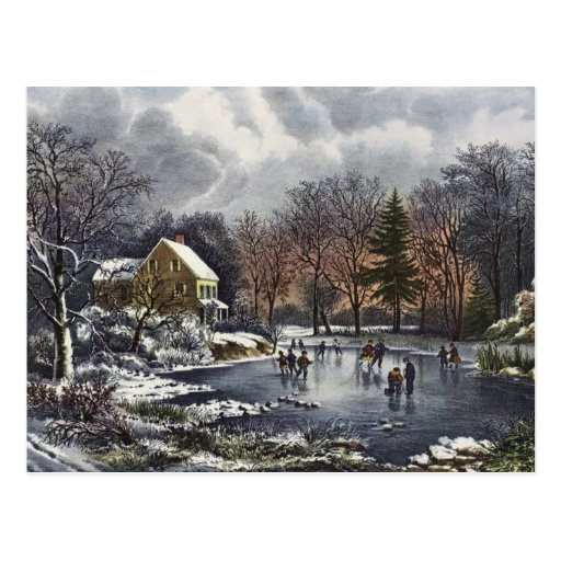 Vintage Christmas, Early Winter, Skaters on Pond Postcards