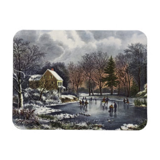 Vintage Christmas, Early Winter Skaters on Pond Rectangular Photo Magnet