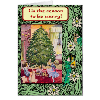 Vintage Christmas, Edwardian children Greeting Card