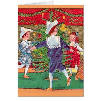 Vintage Christmas, Edwardian children dancing Greeting Cards