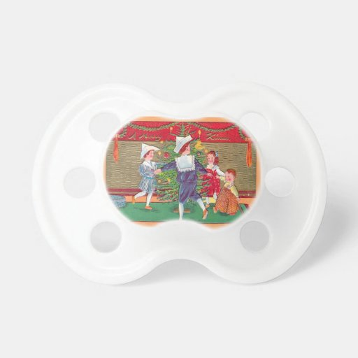 Vintage Christmas, Edwardian children dancing Baby Pacifiers
