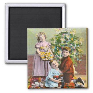 Vintage Christmas, Edwardian family and tree Fridge Magnets