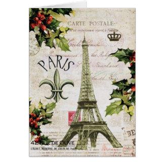Vintage Christmas Eiffel tower notecard Greeting Cards