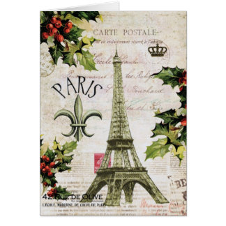 Vintage Christmas Eiffel tower notecard Greeting Card