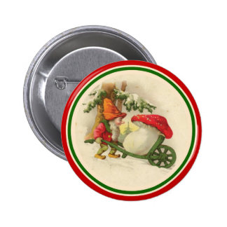 Vintage Christmas Elf with Mushroom 6 Cm Round Badge