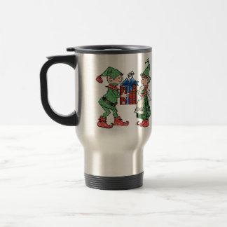 Vintage Christmas Elves Gift Giving Mug