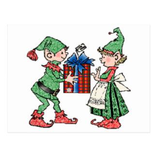 Vintage Christmas Elves Gift Giving Postcard