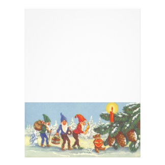 Vintage Christmas, Elves in the Snow Forest Winter 21.5 Cm X 28 Cm Flyer