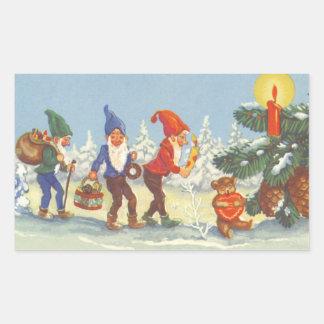 Vintage Christmas, Elves in the Snow Forest Winter Rectangular Sticker