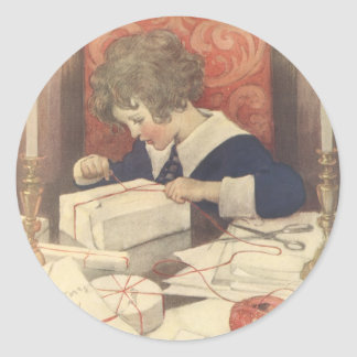 Vintage Christmas Eve Child, Jessie Willcox Smith Classic Round Sticker